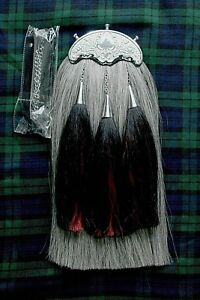 Royal Scots Dragoon Guards Military Grey Horse Hair Sporran 3 Tassels Chain Belt