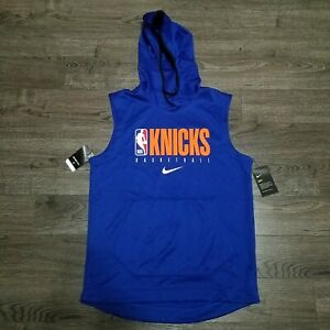 Nike NBA New York Knicks Sleeveless Hoodie  Mens MEDIUM Blue Player issued Rare