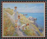 Hand painted Original Oil painting art Impressionism girl seaside on Canvas
