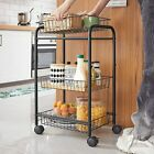 3-Tire Metal Home Rolling Cart with Baskets Lockable Utility Trolley with Handle