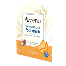 Aveeno Repairing Cica Foot Mask Single-Use Slippers, Probiotic Oat & Shea