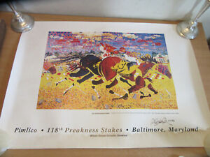 Jay Schlossberg Cohen 1993 118th Preakness Stakes SIGNED Lithograph print