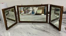Antique Tri Fold Vanity Shaving Mirror Beveled Glass Tiger Oak Arts & Crafts