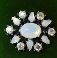 Vintage Miracle Glass Opaline AB Glass Rhinestone Silver Brooch Pin 9e 26