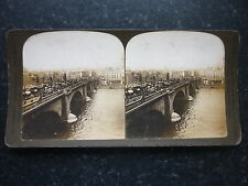 Stereoview Nice Early Image The Famous London Bridge London England Horse Buses