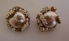 MIRIAM HASKELL Baroque Pearl/Seed Pearl Button Earrings