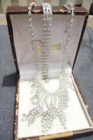 Fabulous Sparkling Rhinestone Necklace Bracelet Earrings Vintage Jewellery Set