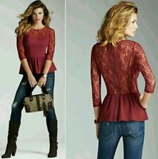 GUESS Women's Lace-Mix Peplum Top, RED WINE