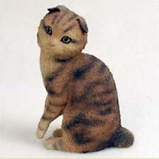 Scottish Fold Brown Tabby Cat Figurine Statue Hand Painted Resin Gift