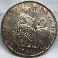 PERU silver 1 Sol 1871 Y.J BU UNC LIBERTAD Lima toning & luster #A82