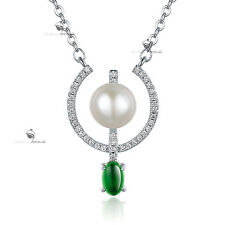 18k white gold gf made with SWAROVSKI crystal pearl pendant necklace 65cm long