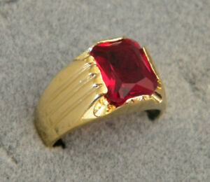 Men's Square Red Stone CZ Yellow Gold Plated Ring Size 11 Smooth Ridge New