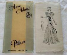 1930's Misses Evening Dress Anne Adams Pattern #4401 Size 14