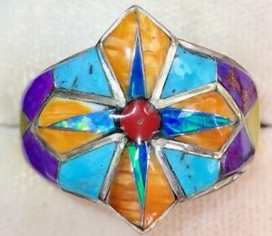 Regal Old Maltese Knights Templar CROSS Black Fire Opal Ring solid 11 Sugilite V