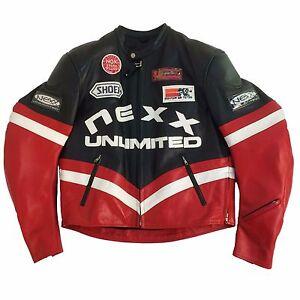NEXX UNLIMITED RACING MEN'S LEATHER JACKET,  NEX-0962 BLACK/RED/WHITE