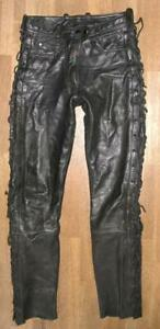 Hein Gericke Red Zipp Damen- Leather Jeans/Lace-Up Trousers IN Black Approx. 34