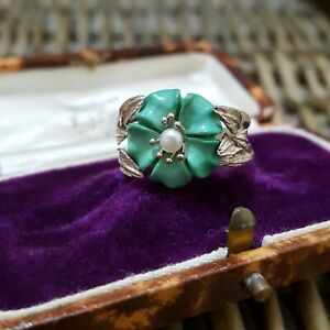 QVC Turquoise and Seed Pearl Sterling Silver Ring, Carved Flower, Size U US 10