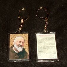 2 (TWO)  -ST SAINT PADRE PIO Keychains New Catholic Religious Franciscan Friar
