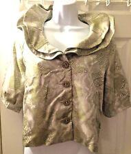 New Women's SAMUEL DONG Olive Snakeskin Ruffle Trim Dress Jacket Coat Crop Sz S