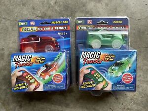 2 Magic Tracks Light-Up R/C Car & Remote Realistic Sound Effects Green And Red