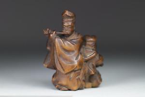 Antique Japanese 19thC Edo Period Carved Boxwood Okimono Netsuke MAN & BOY