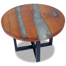 Wooden Round Coffee Table Teak Wood Resin Glass Handmade Side Tables Living Room