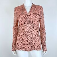 Ann Taylor Size Large Blouse Top Empire Waist Long Sleeve Coral Pink Black Mesh