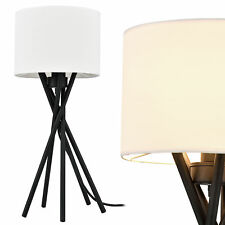 [lux.pro] Lámpara de mesa  [57cm x Ø25 cm] blanca lámpara de lectura tela metal