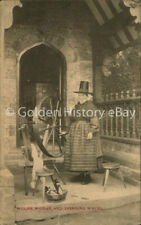 ANTIQUE WELSH WOMEN AND SPINNING WHEEL  POSTCARD UNPOSTED