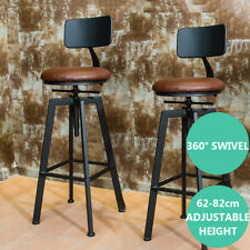 Industrial Bar Stool Furniture Swivel Bar Cafe Counter Chair Leather Seat Backet