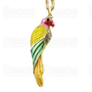 MULTI PARROT PENDANT enamelled CRYSTAL gold tone necklace yellow pink green UK