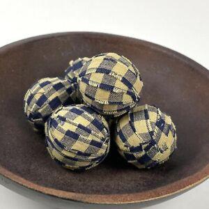Primitive Small  Rag Balls Blue Plaid Homespun 1.5 inch Bowl Filler