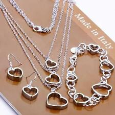 925 Sterling Silver Plated Heart Chain Earring Necklace Jewelry Set RB US