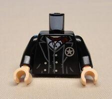 NEW Lego Cowboy Minifig Body Black Torso Jacket and Vest w/ Star Badge