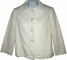 Philippe Adec cropped jacket sz 6 US / 40 EUR ivory jacquard NEW $175
