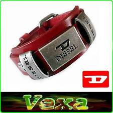 New DIESEL Genuine Leather Bracelet Red Bangle Wristband Mens Womens Surfer BD06