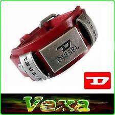 New DIESEL Genuine Leather Bracelet Red Bangle Wristband Men's Women's Surf BD06