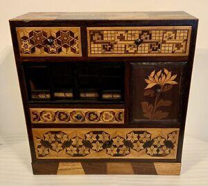 Antique Japanese Meiji Specimen Wood Marquetry / Parquetry Inlaid Box / Cabinet