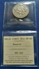 1865 German States BAVARIA Thaler Silver Coin ICCS EF-40