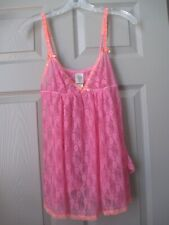 In Bloom by Jonquil 2pc Lingerie Pink Lace Nighty & Thong -M- NWT $64