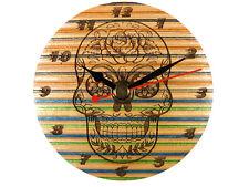 RECYCLED SKATEBOARD Wooden Handmade Wall Clock Small Wood Bedroom Skull Candy