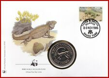 Turks and Caicos Inseln 1 Crown 1988 BU 25th Anniversary WWF Coin Cover Stamp !!
