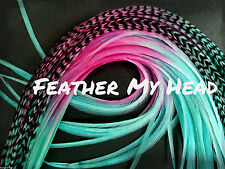 """Whiting Ombre Tye Dye Multi Colored Feather Hair Extension 9""""-12"""" Long PD"""