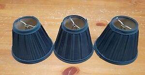 Set of Three (3) small MiniDark Forest Green chandelier lamp shades Shade