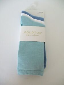 GoldToe Womens 3 pack crew socks shoe size 6-9 designer collection