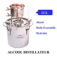 12L Distillateur Alambic Thermomètre Essentielle Huile Alcool Eau Inoxydable DIY