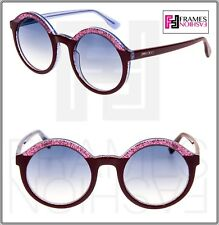 a99e3af3c6cf Jimmy Choo Glam Translucent Lilac Pink Glitter Bordeaux Round Sunglasses  Glam s