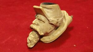 RARE CIVIL WAR ERA CARVED MEERSCHAUM PIPE OF ZOUAVE BEARDED SOLDIER IN KEPI