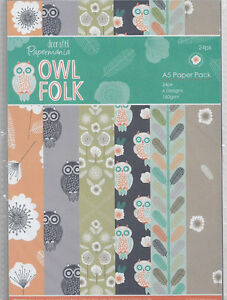 Papermania A5 Backing Papers,6 Designs,24 Sheets,160gsm Owl Folk BNIP