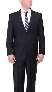 Mens 66R Vitali Classic Fit Solid Black Two Button Suit With Pleated Pants
